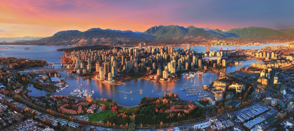 Aerial Sunset Vancouver
